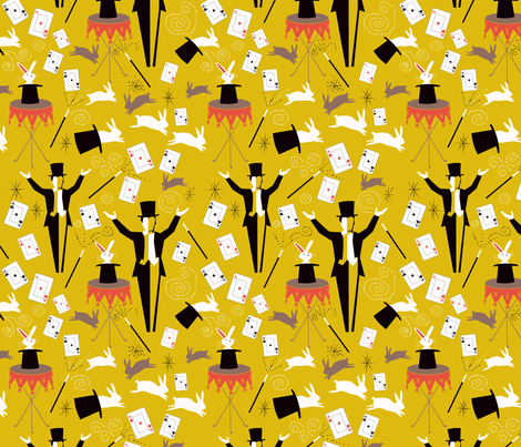Magic Show Mustard fabric by vinpauld on Spoonflower - custom fabric