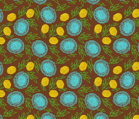 Blue asters and dandelions fabric by daria_rosen on Spoonflower - custom fabric