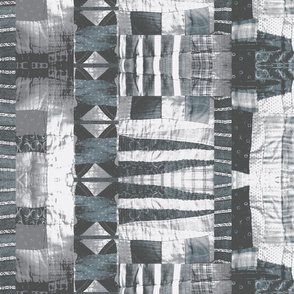 Vintage quilt in blue and gray