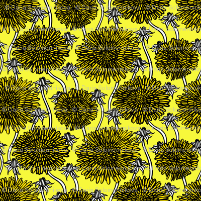 Bold and graphic dandelion flowers in yellow
