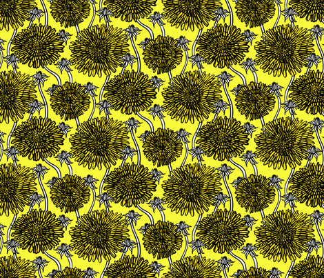 Bold and graphic dandelion flowers in yellow fabric by daria_rosen on Spoonflower - custom fabric