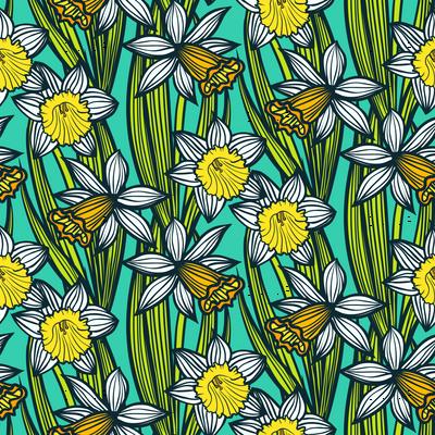 Daffodils on aqua blue