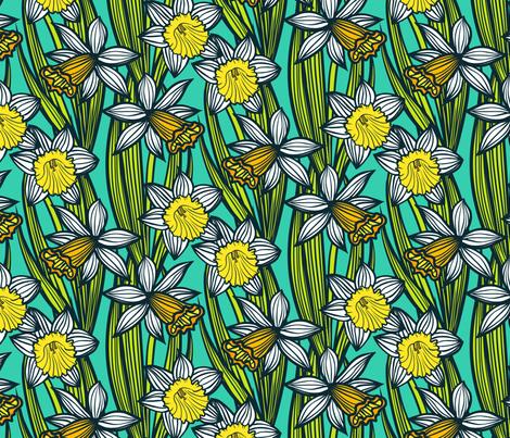 Daffodils on aqua blue fabric by daria_rosen on Spoonflower - custom fabric