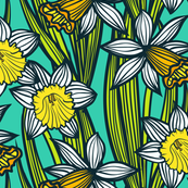Daffodils on aqua blue