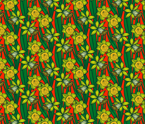 Daffodils on bright red fabric by daria_rosen on Spoonflower - custom fabric