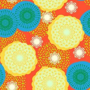 Bright art deco flowers