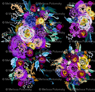Spring Lavender Floral Painting // Black
