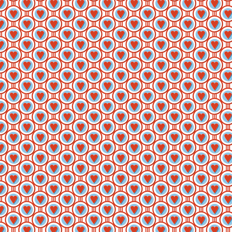 Queen of Hearts* || valentine valentines day love link circles geometric polka dots art deco fabric by pennycandy on Spoonflower - custom fabric