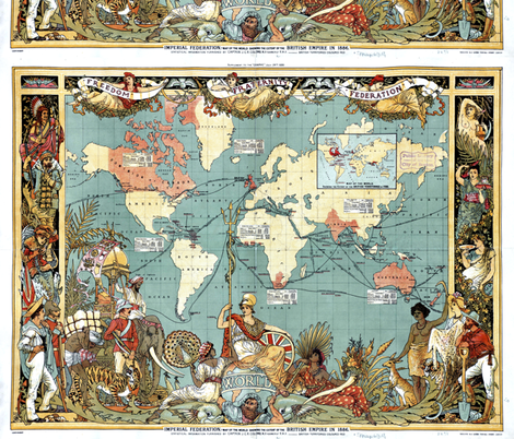Imperial_Federation__Map_of_the_World_Showing_the_Extent_of_the_British_Empire_in_1886__levelled_ fabric by flyingfish on Spoonflower - custom fabric