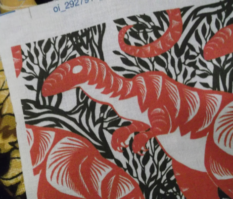 Chinese Paper Cut Dinosaur Red on Black