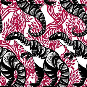 Chinese Paper Cut Dinosaur Black on Red