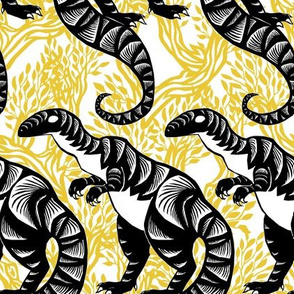 Chinese Paper Cut Dinosaur Black on Gold