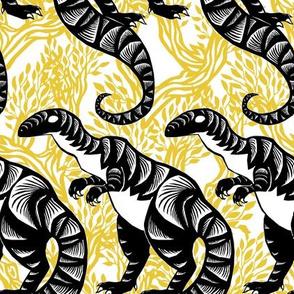 Chinese Paper Cut Dinosaur Black on Gold