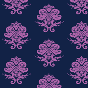 Navy and Lavender damask
