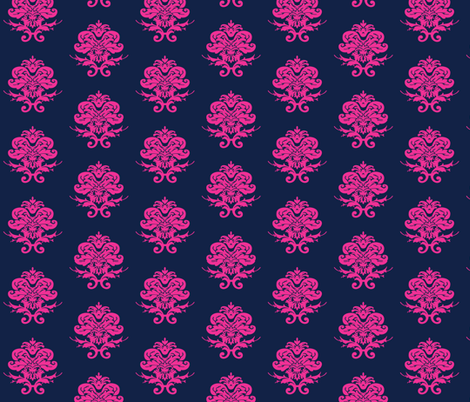 Pink and Navy Damask fabric by magneticcatholic on Spoonflower - custom fabric