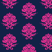 Pink and Navy Damask