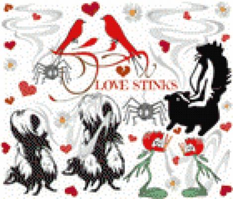 LOVE STINKS CROSS STITCH fabric by bluevelvet on Spoonflower - custom fabric