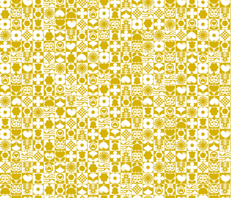 Floral Tiles - Gold fabric by studio_amelie on Spoonflower - custom fabric