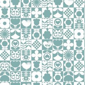 Floral Tiles - Teal