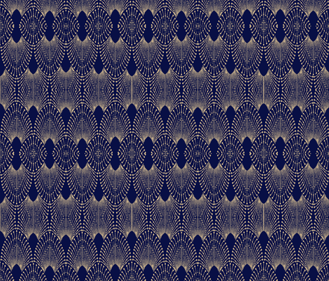 deco feathers sand on navy fabric by bymindy on Spoonflower - custom fabric