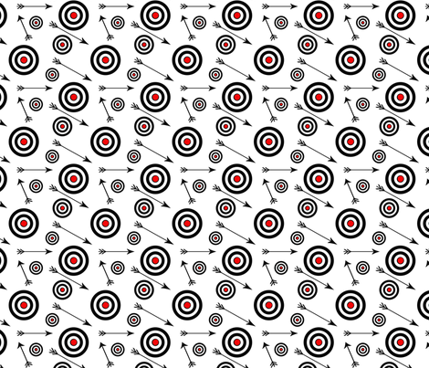 Targets and arrows on white fabric by redbicycle on Spoonflower - custom fabric