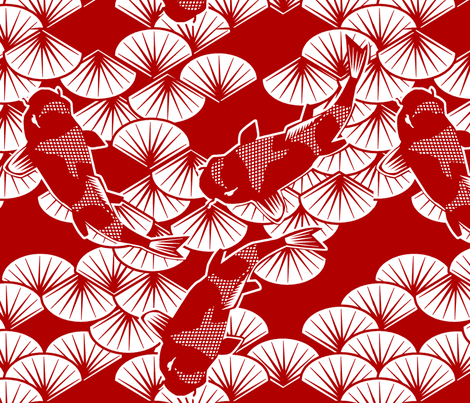koi papercuts fabric by glimmericks on Spoonflower - custom fabric