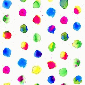 Inky Rainbow Dots on Cream