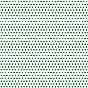 Green on White Polka Dots