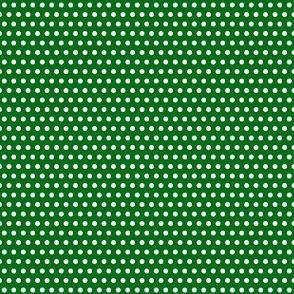 White on Green Polka Dots