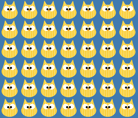 HOOTS in yellow on blue fabric by scorpiusblue on Spoonflower - custom fabric