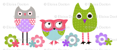 Whimsy owls - Lavender