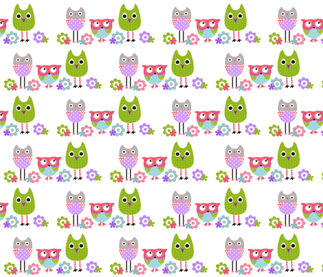 Whimsy owls - Lavender fabric by natitys on Spoonflower - custom fabric