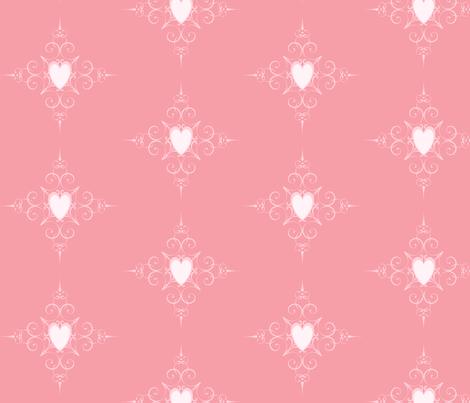 Pink Heart Pattern Fabric By Jenfur On Spoonflower