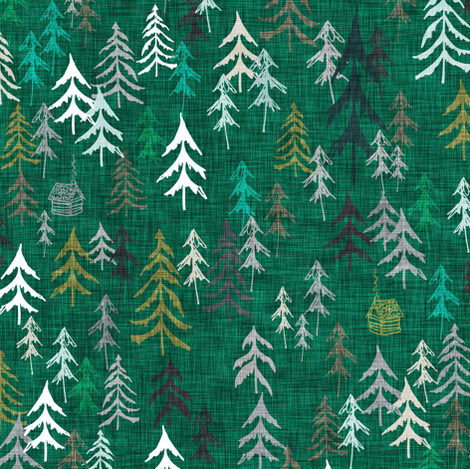 Solitude (dark green) fabric by nouveau_bohemian on Spoonflower - custom fabric