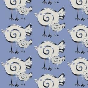 Bird Duo on Ceil Blue