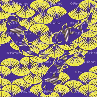 koi papercuts purple and chartreuse