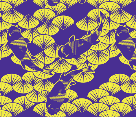 koi papercuts purple and chartreuse fabric by glimmericks on Spoonflower - custom fabric