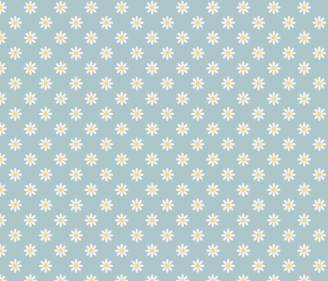 marguerite_fond_bleu_M fabric by nadja_petremand on Spoonflower - custom fabric