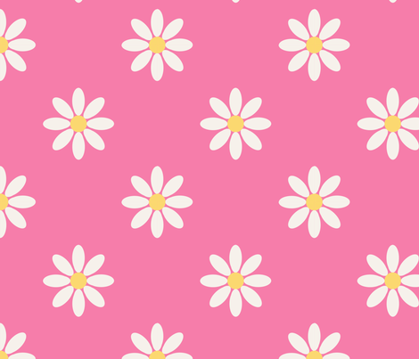 marguerite_fond_rose_L fabric by nadja_petremand on Spoonflower - custom fabric