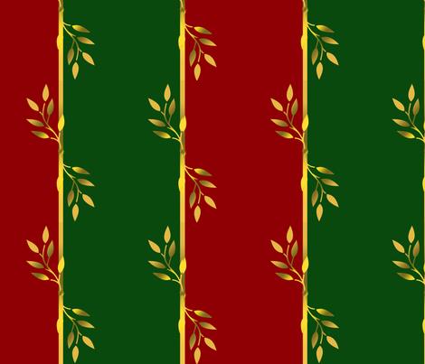 Red, Green & Gold Leaf Stripes fabric by kaedralynn on Spoonflower - custom fabric