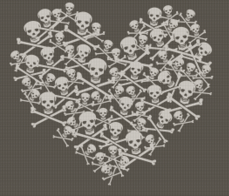Skull & Cross stitches fabric by kittenstitches on Spoonflower - custom fabric