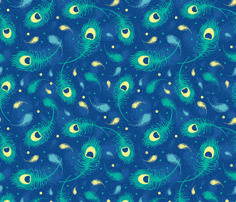 Flying peacock feathers fabric by oksancia on Spoonflower - custom fabric