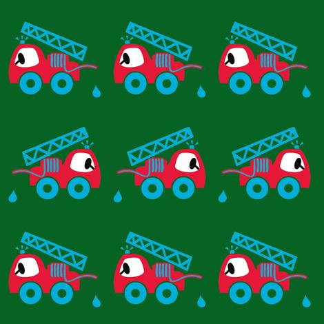 Cute fire brigade green fabric by mimmis-traktor on Spoonflower - custom fabric