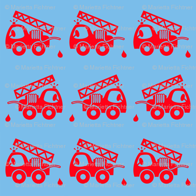 Cute fire truck blue red fabric mimmis traktor spoonflower for Little blue truck fabric