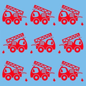 Cute fire truck blue red