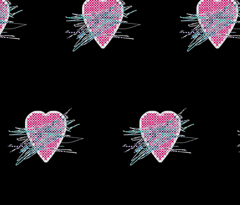 Scratched-Out Hearts fabric by animotaxis on Spoonflower - custom fabric
