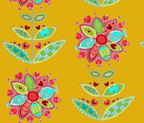 love flower yellow fabric by scrummy on Spoonflower - custom fabric