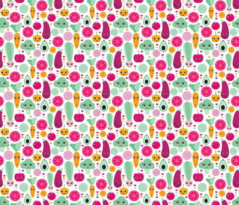Happy vegetable kitchen textile spring garden fabric by littlesmilemakers on Spoonflower - custom fabric