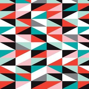 Pastel modern geometric cubist mid century anstract design