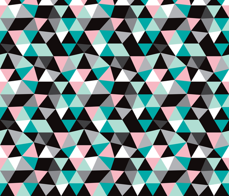 Pastel modern geometric triangle pattern LARGE fabric ...